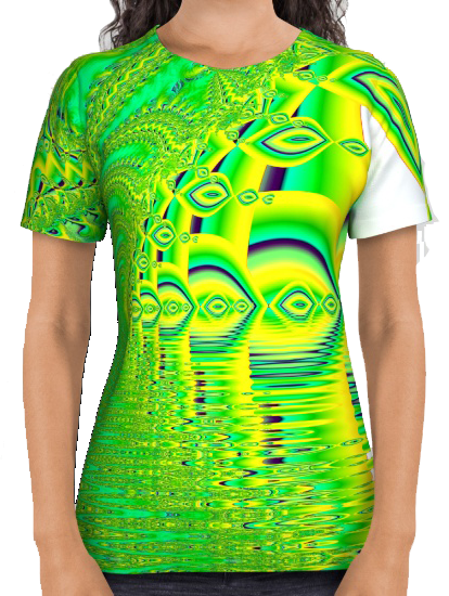 Lemon Lime Cool Summer Day, Fractal Dreams in Green All Over Print Shirt