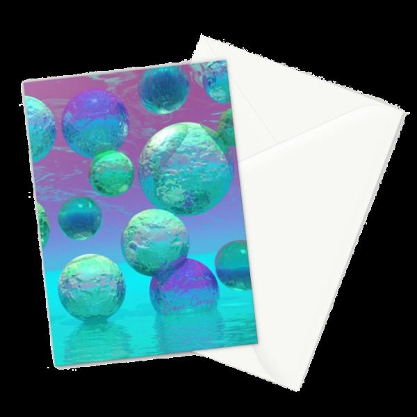 Ocean Dreams, Aqua and Indigo Seascape Universe | Greeting Card