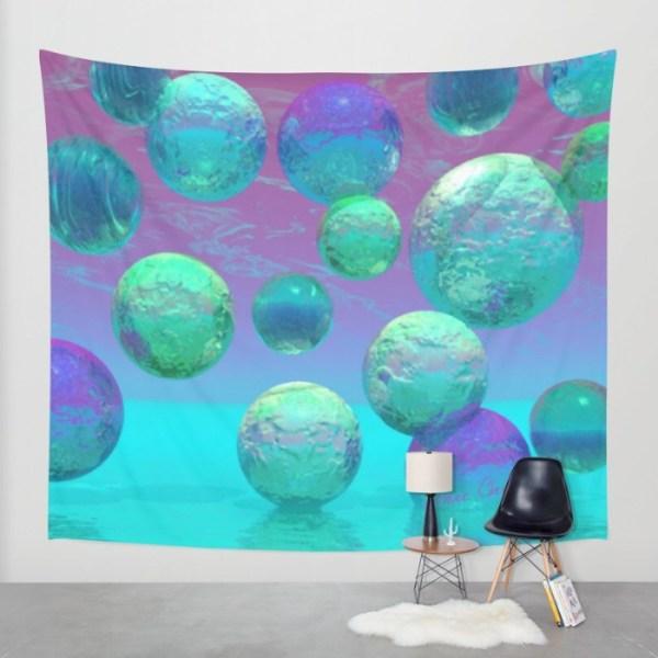 Ocean Dreams, Aqua and Indigo Seascape Universe   Wall Hanging