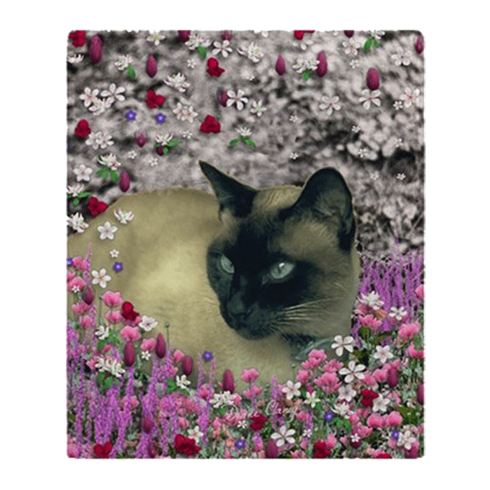 Sold! ❤ Stella Chocolate Point Siamese Cat in Flowers I Fleece Throw Blanket 50″x60″