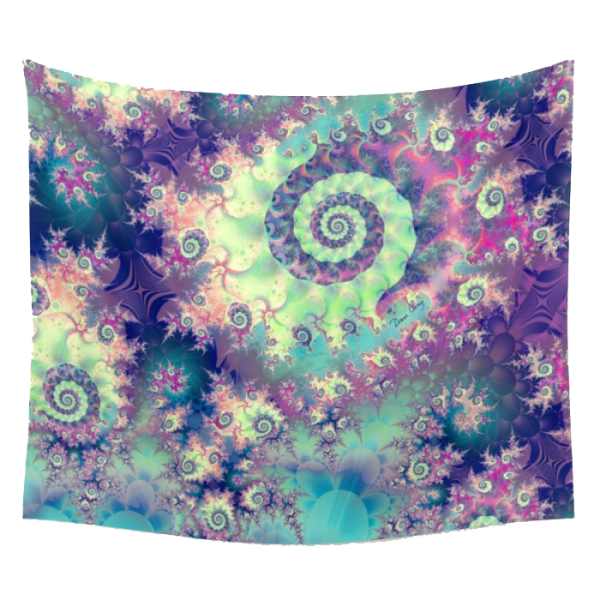 Violet Teal Sea Shells, Abstract Underwater Forest | Wall Hanging