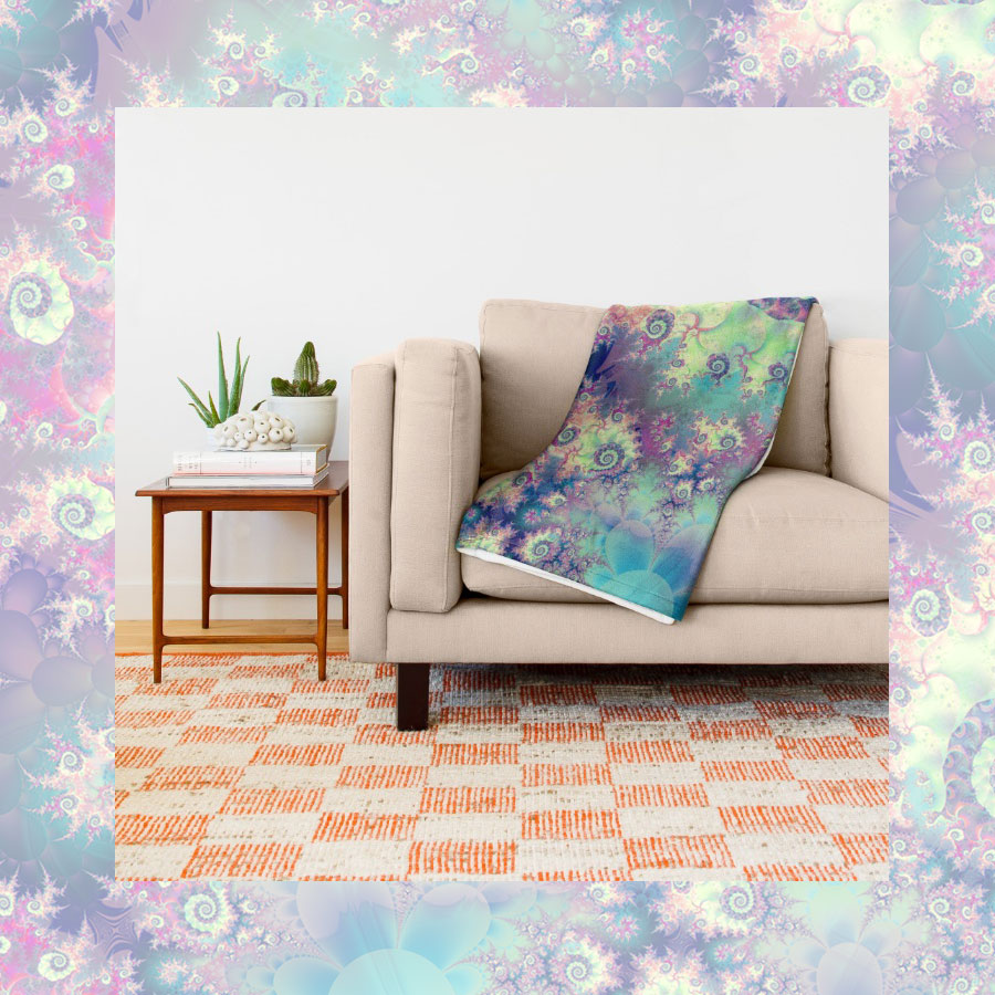Violet Teal Seashells, Abstract Underwater Forest | Throw Blanket