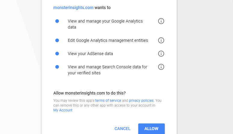 allow monsterinsights to manage analytics