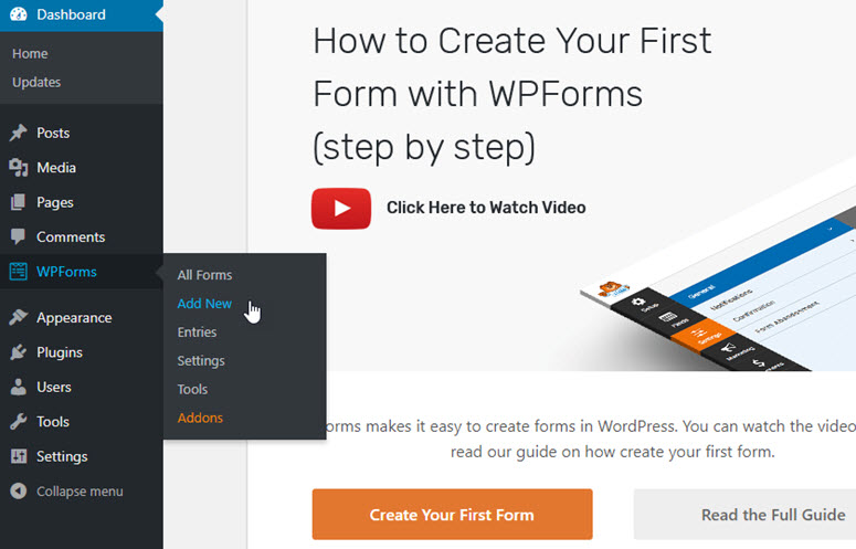 create your first form