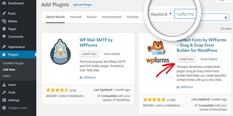 installa wpforms