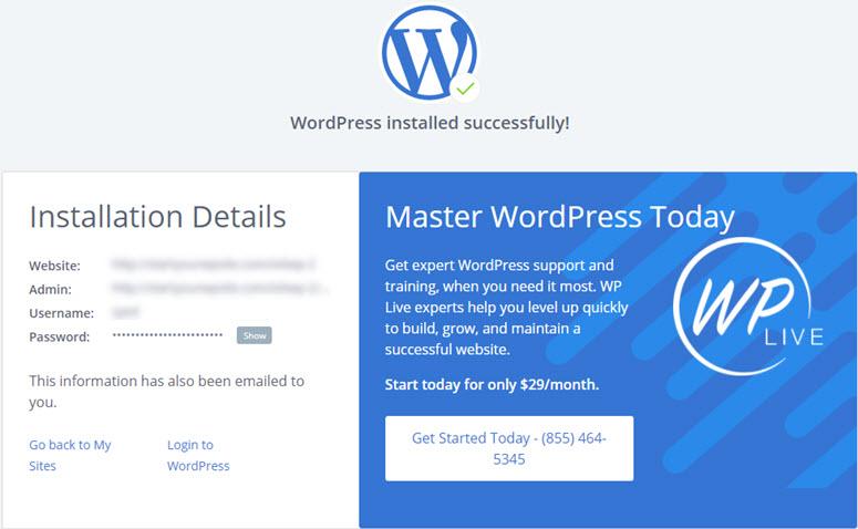 installazione di wordpress eseguita correttamente