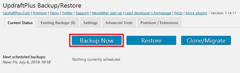 Backup con UpdraftPlus