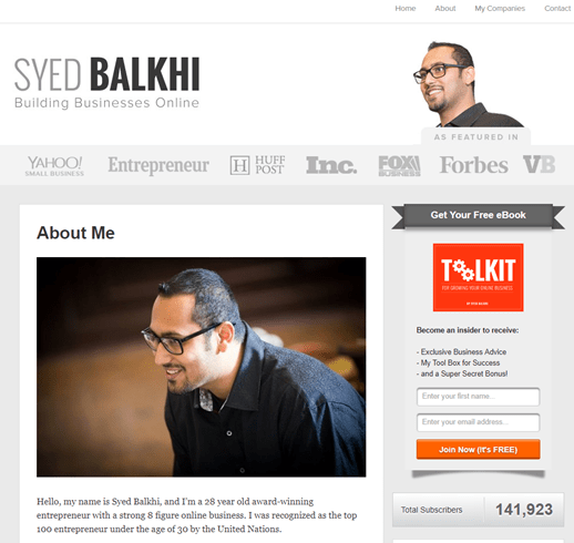 About page example- Syed Balkhi
