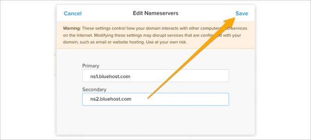 Edit nameservers