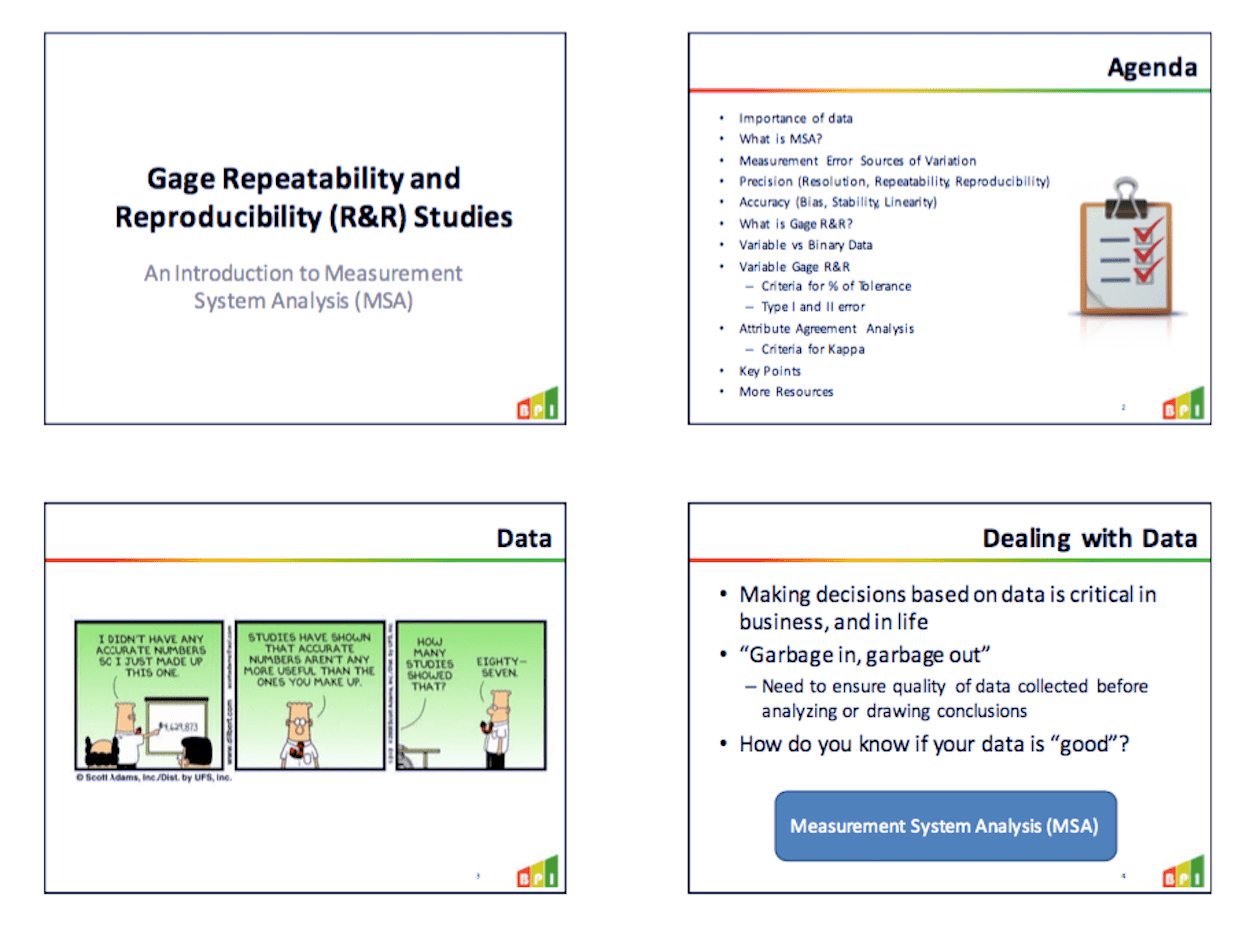 Gage Repeatability And Reproducibility R Amp R Training Slides