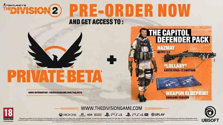 The Division 2 Pre-Order Details