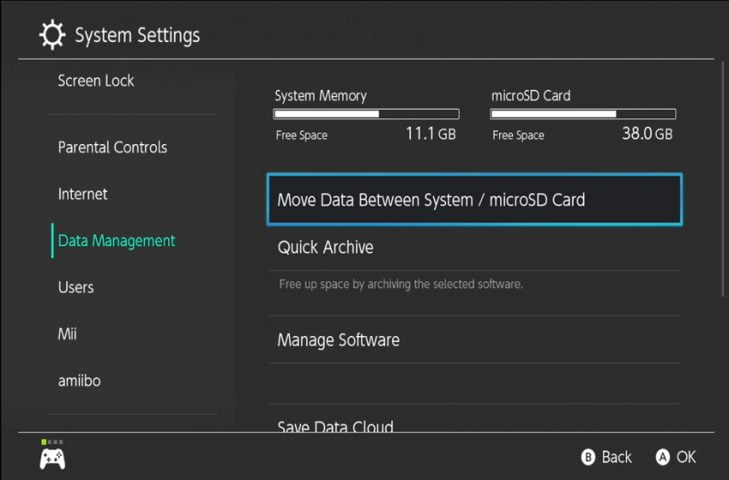 How to transfer games between system storage and SD card on Nintendo Switch