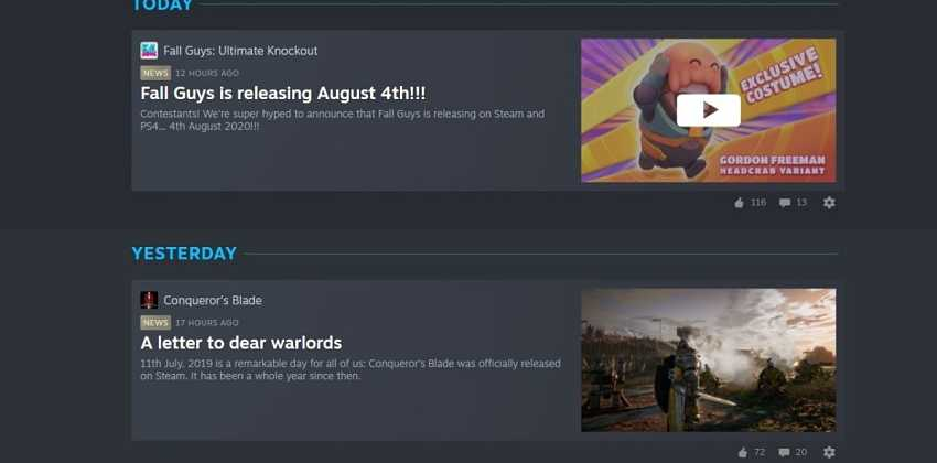 Steam Labs experimental News Hub gets new UI and more