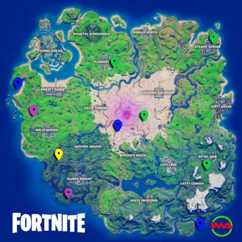 All XP Coin locations Fortnite Chapter 2 Season 5 Week 9 – Green, Blue, Purple, and Gold