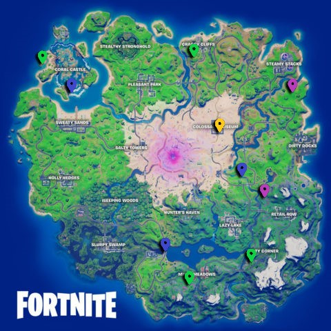 All XP Coin locations Fortnite Chapter 2 Season 5 Week 13