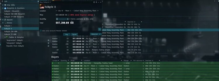 EVE Online price spikes in action