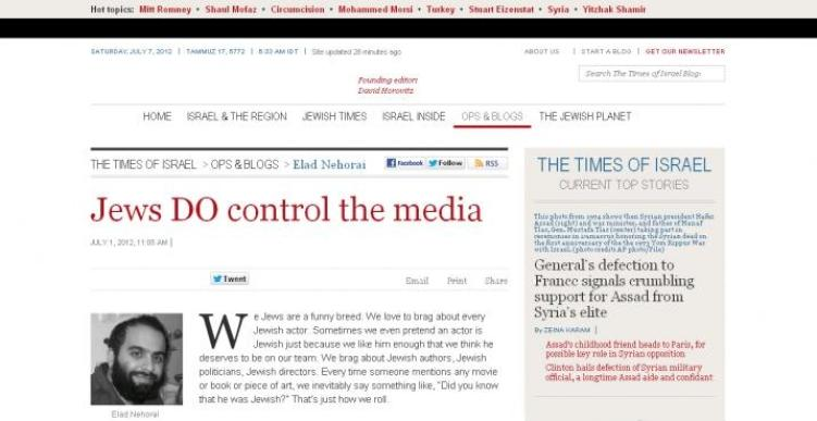 "Jews DO Control Media - A Jew admits in ""The Times of Israel"" - Radio Islam"