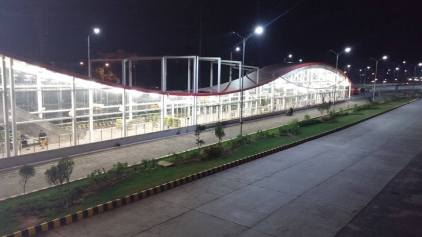 Night view of Metro Bus station in Islamabad.