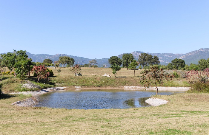 Lake, greenery and Margalla Hills view from Fatima Jinnah Park Islamabad