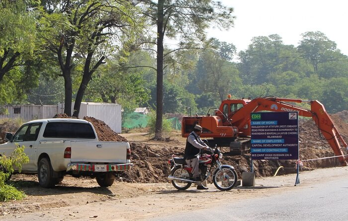 Tree cutting at Embassy Road in Islamabad