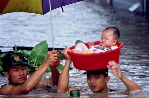 baby floating in flood