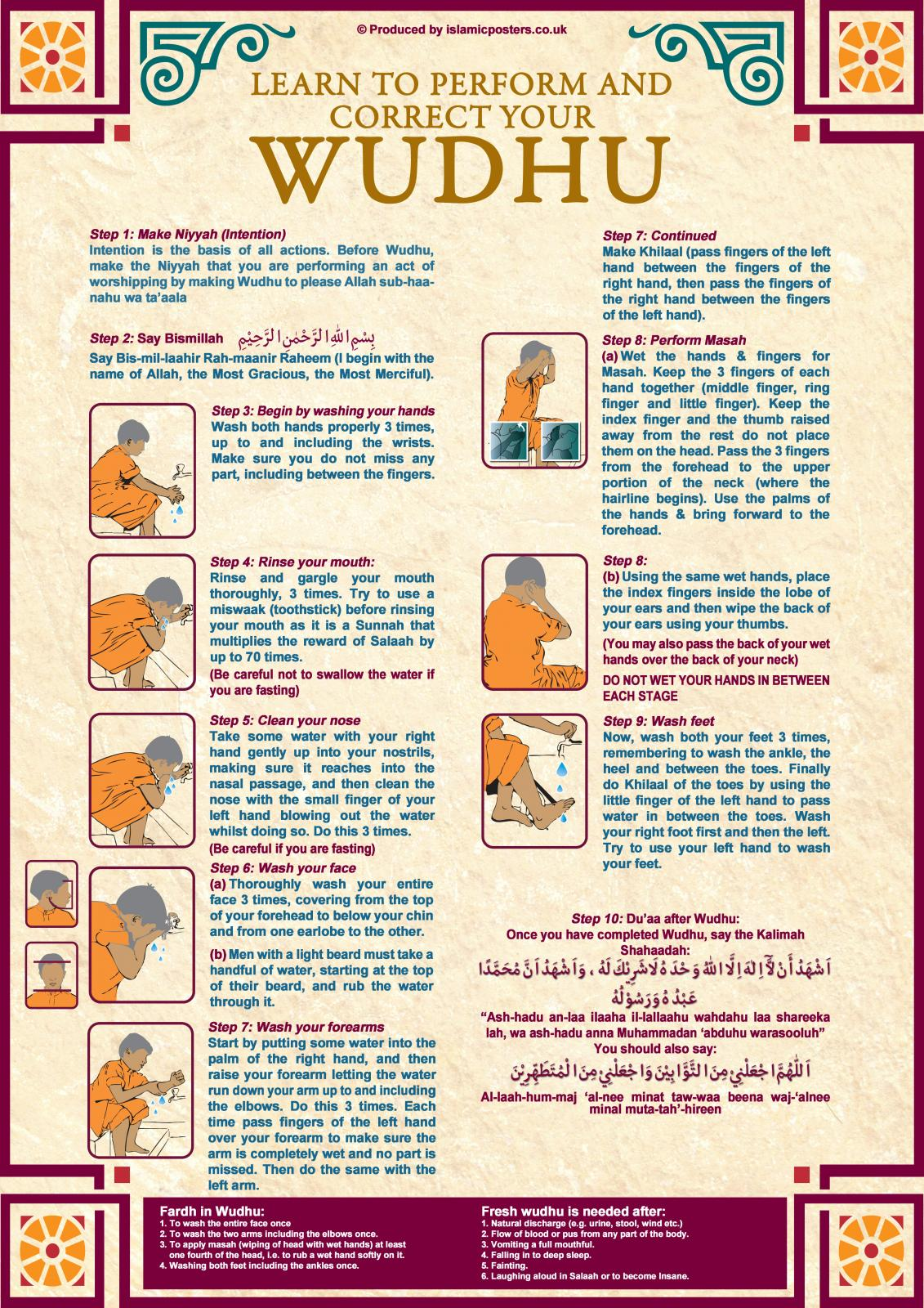 Guide On How To Perform Ablution Wudhu Amp Prayers Salaah