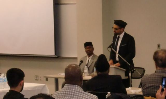 """Imam Hammad addresses the gathering at the """"Muhammad's (PBUH)  Message Examined"""" event that took place in CCBC Owings Mills"""