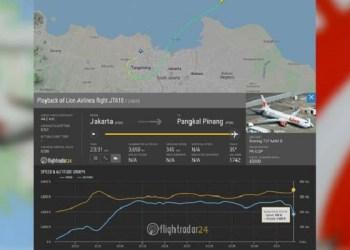 Pergerakan pesawat Lion Air JT 610 sebelum jatuh ke Tanjung Karawang. Foto: Flightradar24