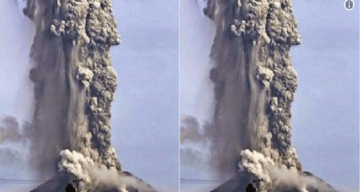 Foto rekayasa yang disebut-sebut sebagai letusan Gunung Soputan, dan juga disebarkan sebagai letusan Gunung Sinabung tahun 2014.. Foto: Twitter  @Sutopo_PN, Kepala Pusat Data Informasi dan Humas BNPB, Sutopo Purwo Nugroho