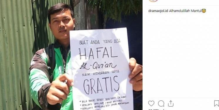 Driver ojol gratiskan ongkos untuk hafiz Al Quran. Foto: Suara/ Instagram