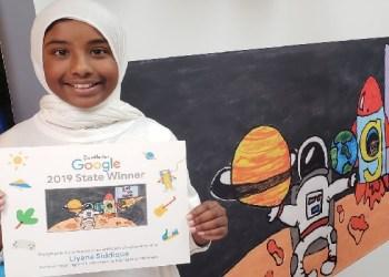 Liyana Siddique dan Google Doodle karyanya. Foto:  MLive