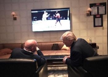 Presiden AS Donald Trump diejek saat menonton UFC. Foto: Instagram Dana White