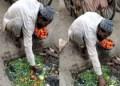 Pria Muslim India punguri sayuran di selokan. Foto: FPJ