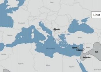 Jerman tak sengaja hapus Israel dari peta. Foto: Twitter