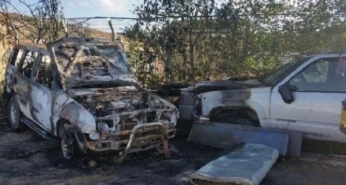 Anggota kelompok teror Israel membakar 13 mobil Palestina. Foto: WAFA