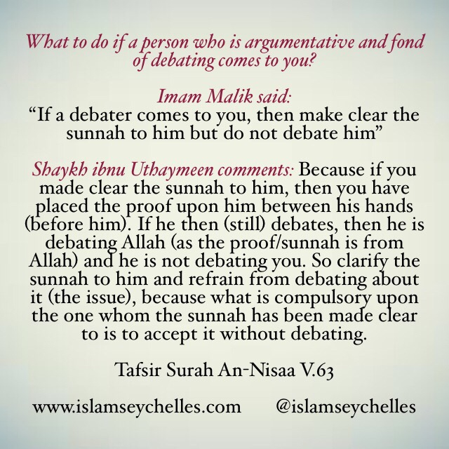 What to do if a person who is argumentative and fond of debating comes to you?