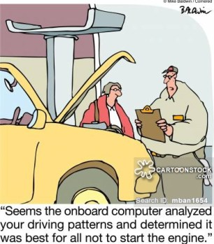 'Seems the onboard computer analyzed your driving patterns and determined it was best for all not to start the engine.'