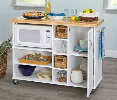 mobile microwave cart with storage
