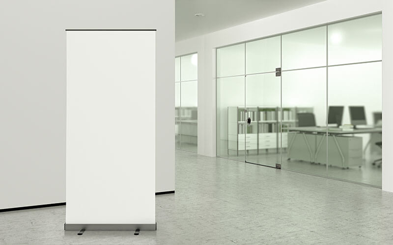 A Blank Pull Up Banner In An Office