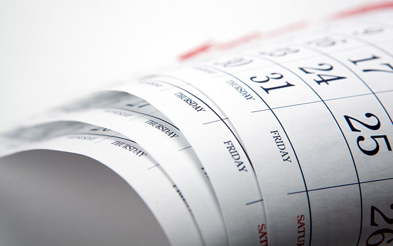 A Close Shot Of Calendar Pages