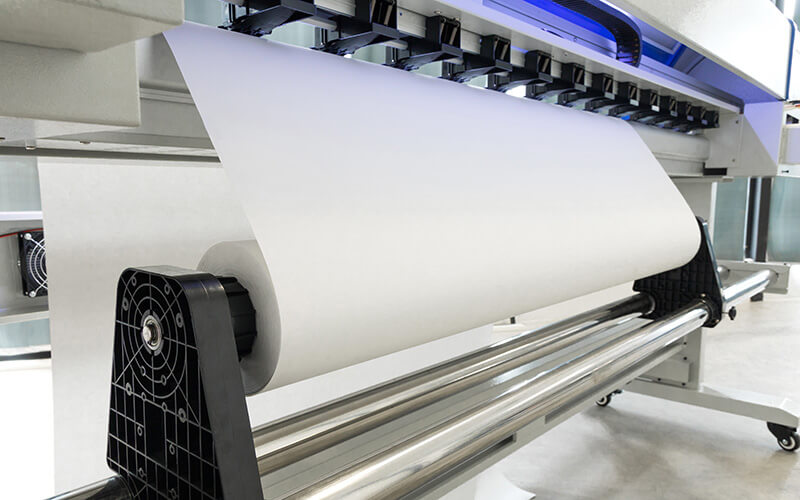 A Wide Format Printer With Blank Paper