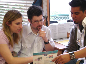 male and female speaking with a health professional about contraceptive options