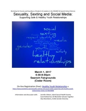 Join us for a conversation about current issues in gender, sexuality, and social media. Register here: https://www.eventbrite.ca/e/sexuality-sexting-and-social-media-supporting-safe-healthy-youth-relationships-tickets-31738530800