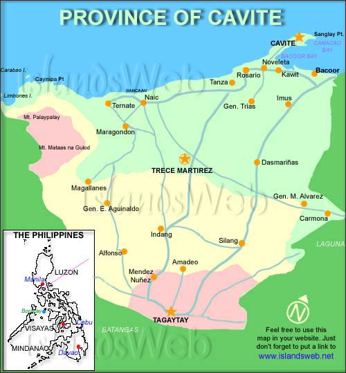 Map Of Cavite Province Philippines