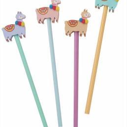 llama pencil and eraser set