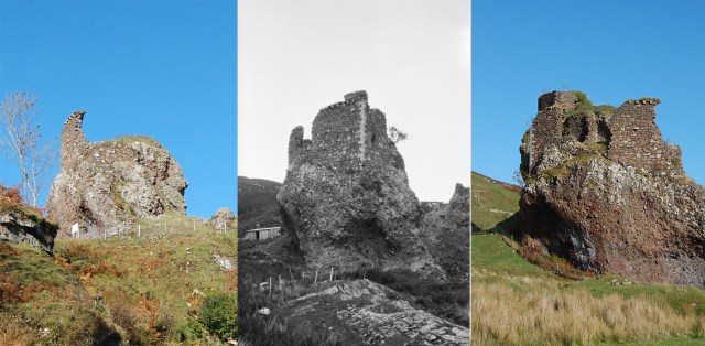 3 views of brochel castle. Centre (1921) shows the eastern wall that has sence fallen away. (note the parapet details on the top of the southern facing wall)