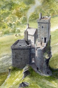 A reconstruction of Brochel Castle by David L. Roberts.