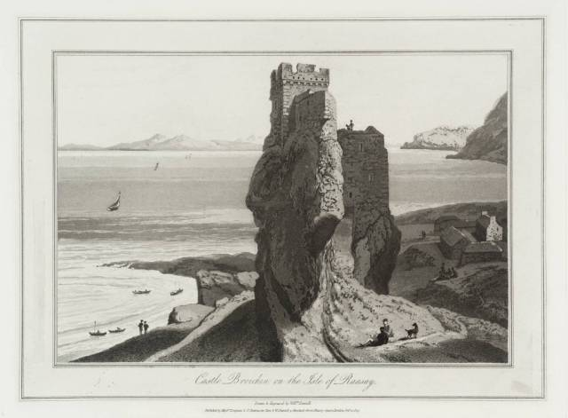 """""""Castle Broichin on the Isle of Raasay"""" By William Daniell"""