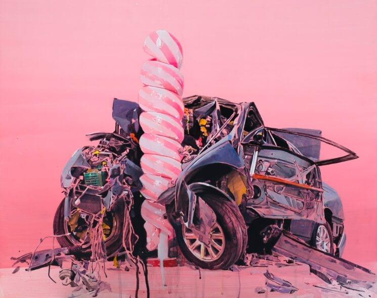 """Desfiguración"", la exposición abstracta en cotton candy del artista chileno Fernando Gómez Balbontín"