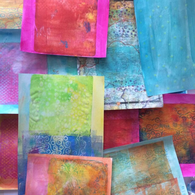 Having fun painting papers today. I wish I was better at using a gelli plate, but there we go. For an online workshop in about 20 minutes time!  #izzymooreart